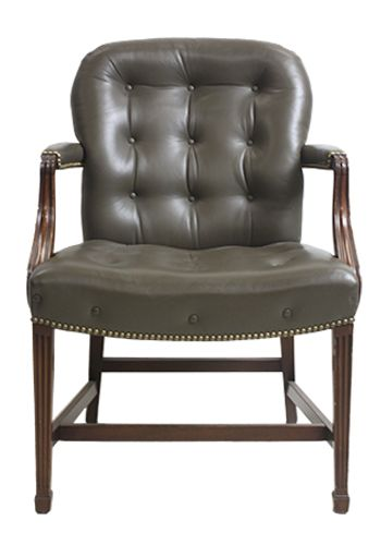 Kittinger Roosevelt Room Side Chair (Olive Leather)
