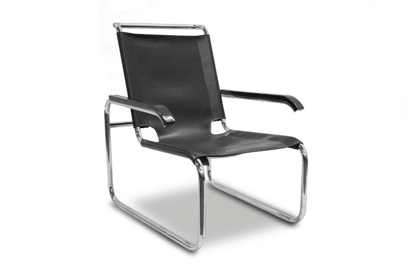 Pre-owned lounge chair in the style of the Marcel Breuer S35 has black strap leather upholstered seat, tubular stainless frame and black wood arms.