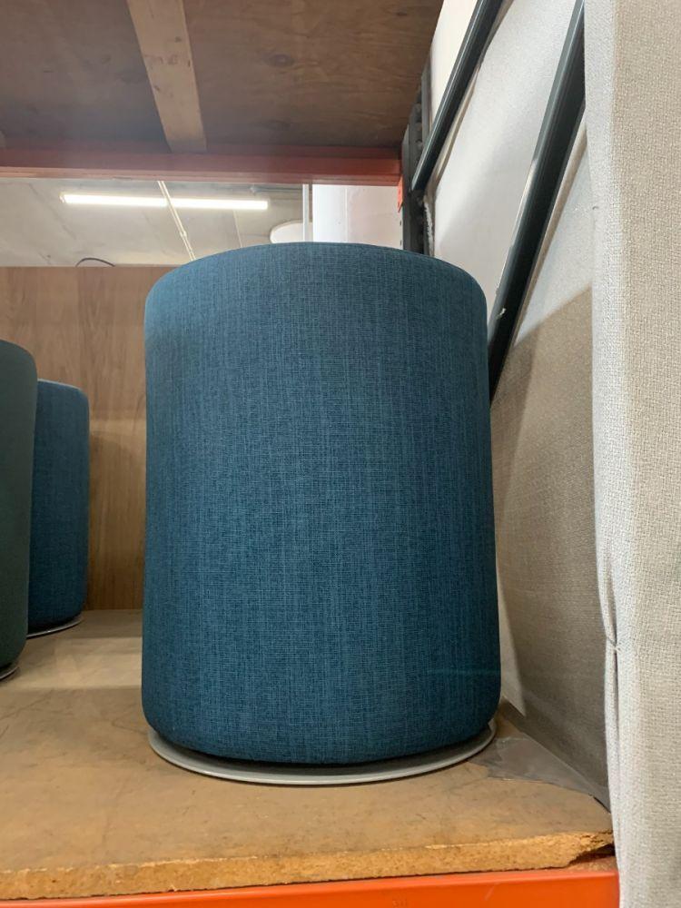 Safco Swivel Keg Ottoman (Blue Stitch)