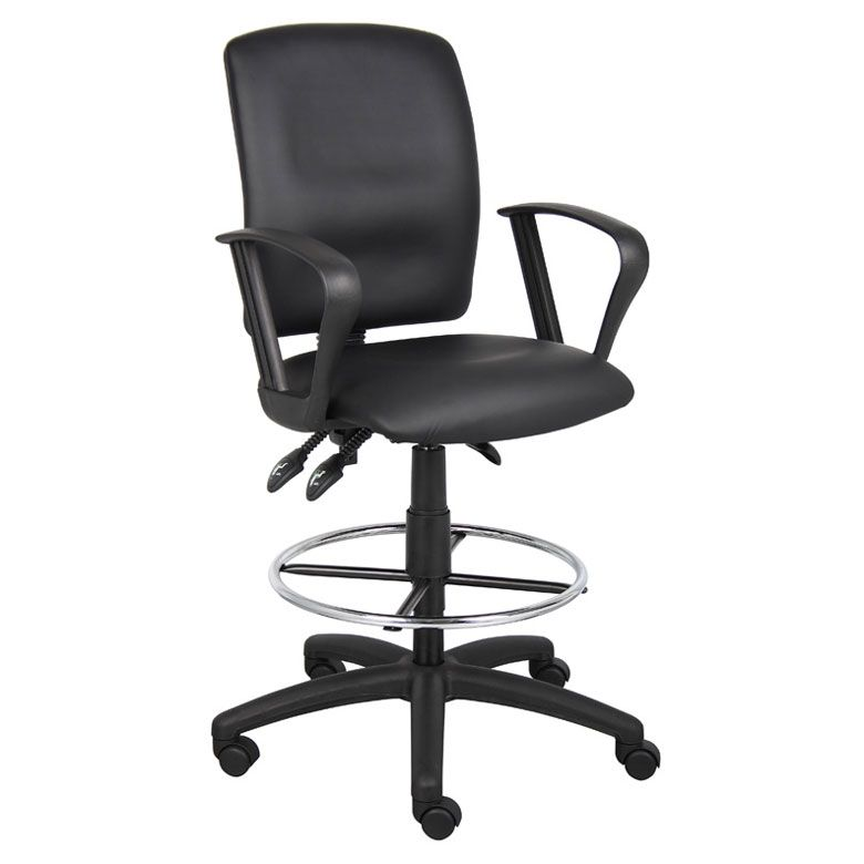The Cermak Black Multi-Function Drafting Stool with Loop Arms is upholstered in Black LeatherPlus (leather and polyurethane) for added softness and durability. It has a pneumatic gas lift seat height adjustment, allowing for versatile adjustment of the se