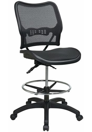 Open Box OFC Deluxe Ergonomic AirGrid Drafting Chair (Black)