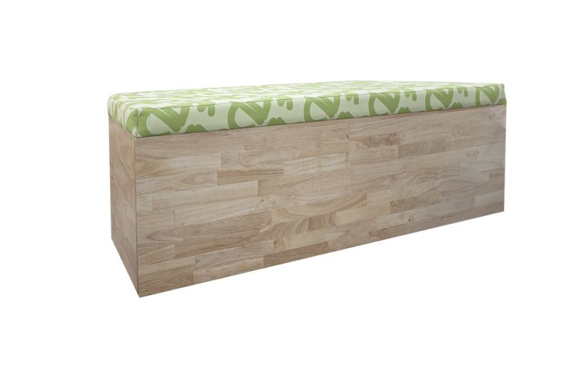 """Open-box Safco Connect trapezoidal mobile bench has lime green patterned cushion top and maple body. On wheels. Dimensions: 22""""D x 60""""W x 20""""H."""
