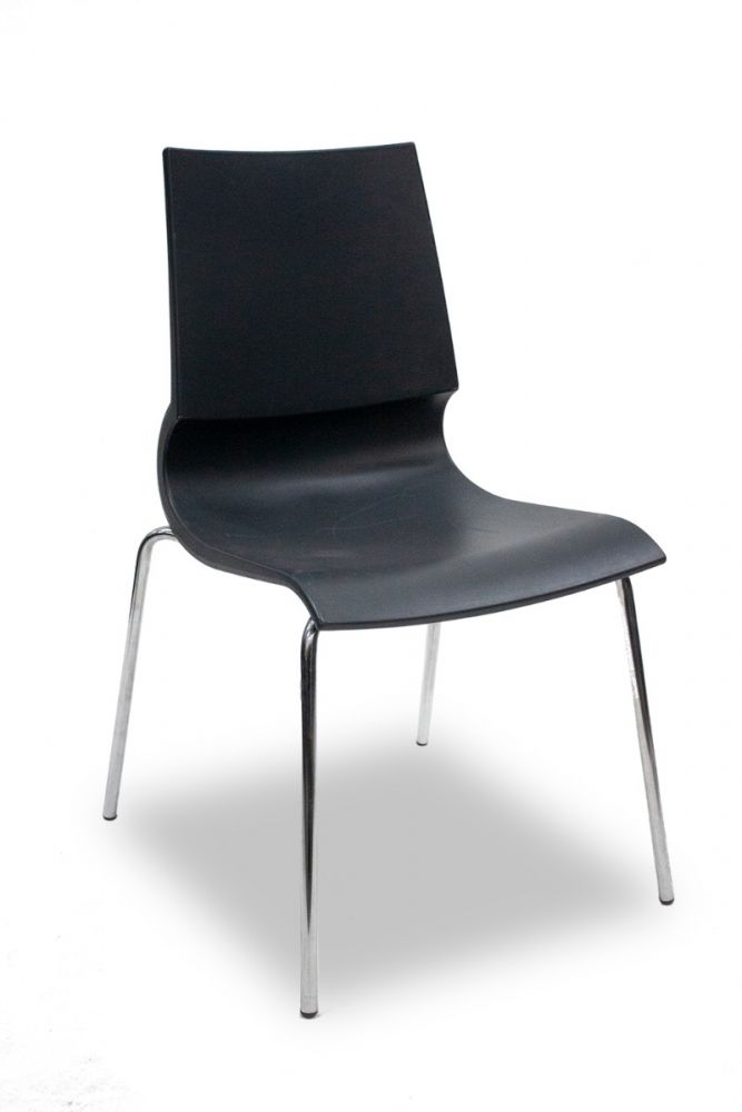 Pre-owned MaxDesign Ricciolina stack chair has charcoal seat shell with (4) chrome post legs. Italian import.