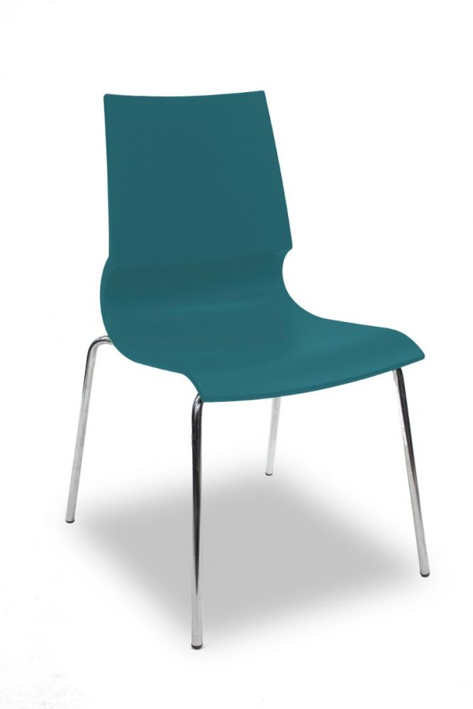 Pre-owned MaxDesign Ricciolina stack chair has turquoise seat shell with (4) chrome post legs. Italian import.