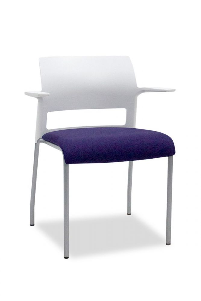 Pre-owned Steelcase Move stack chair has a purple upholstered seat and a white plastic body with fixed paddle arms.