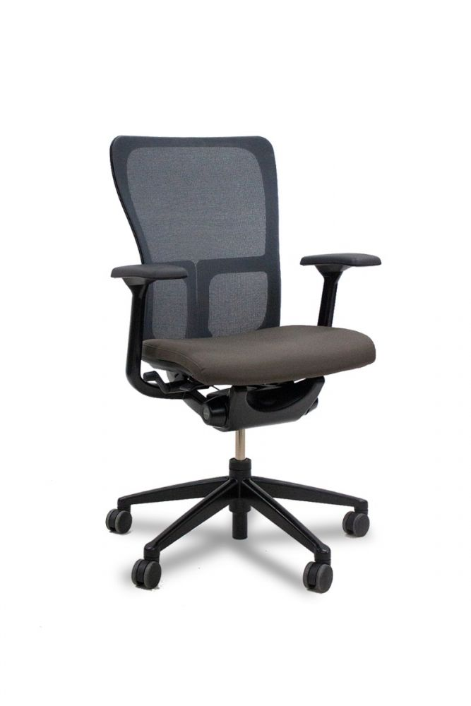 Pre-owned Haworth Zody task chair has Comfort mesh back and a Bronze upholstered seat. Black fixed arms and base.