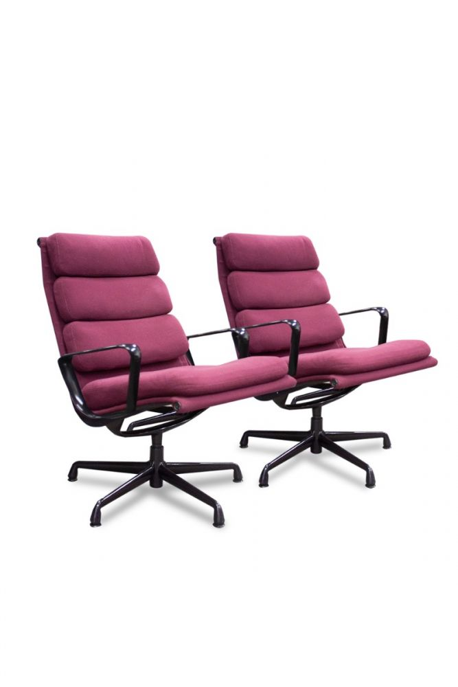 Herman Miller Eames Aluminum Group Chair Pair (Burgundy)
