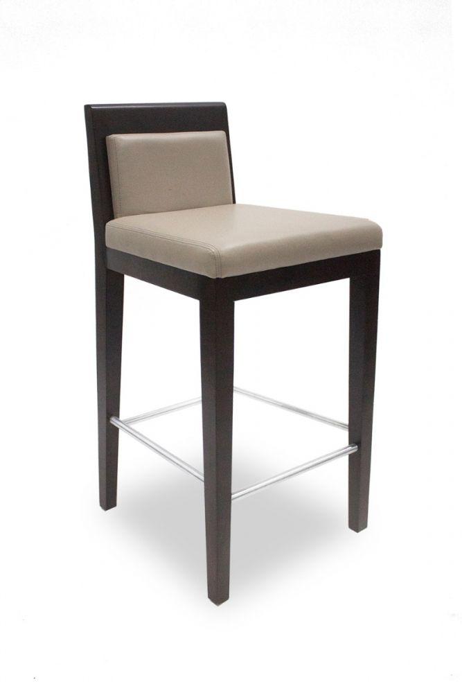 Pre-owned Bright Junior School bar stool has Pell Morgan vinyl upholstery with Raisin Walnut frame.
