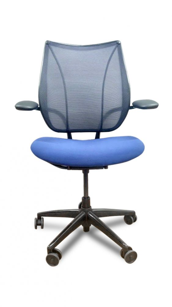 Pre-owned Humanscale Liberty task chair has Atlantic back, Navy fabric seat and a black frame with a five-star castered base.