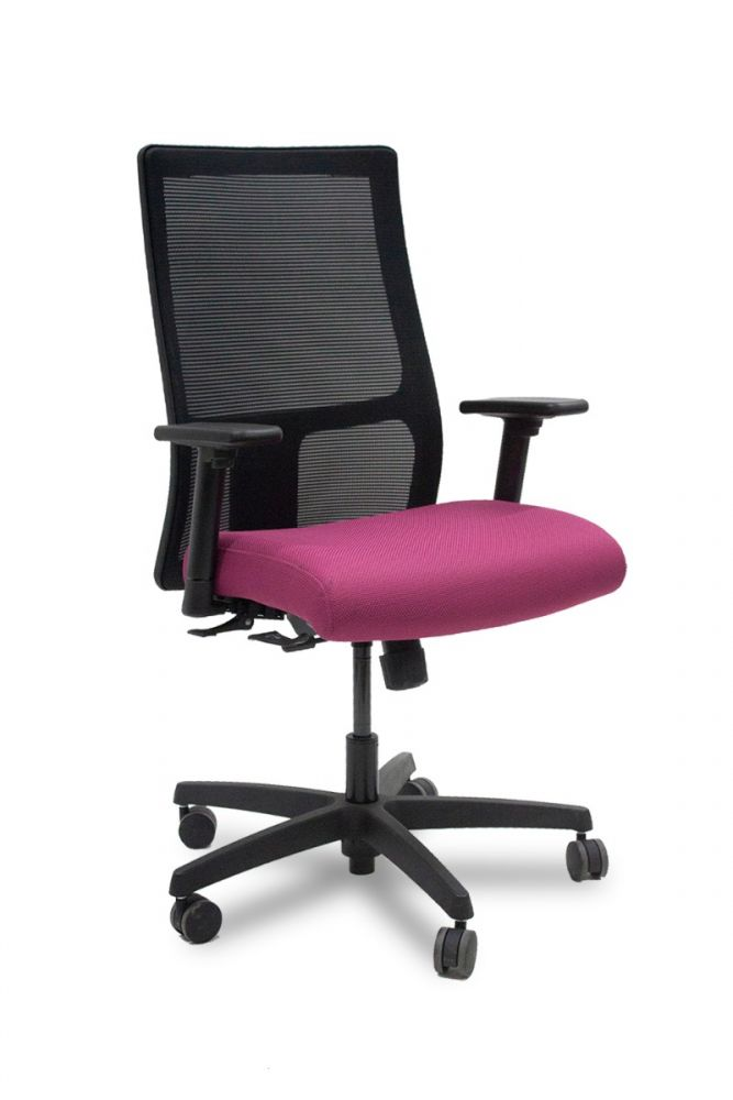 Pre-owned HON Ignition task chair has pink upholstered seat, black mesh back,  black adjustable-height arms and black five-star castered base.