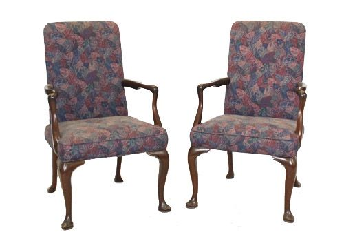 Vintage Queen Anne Walnut Armchair (Violet Floral)