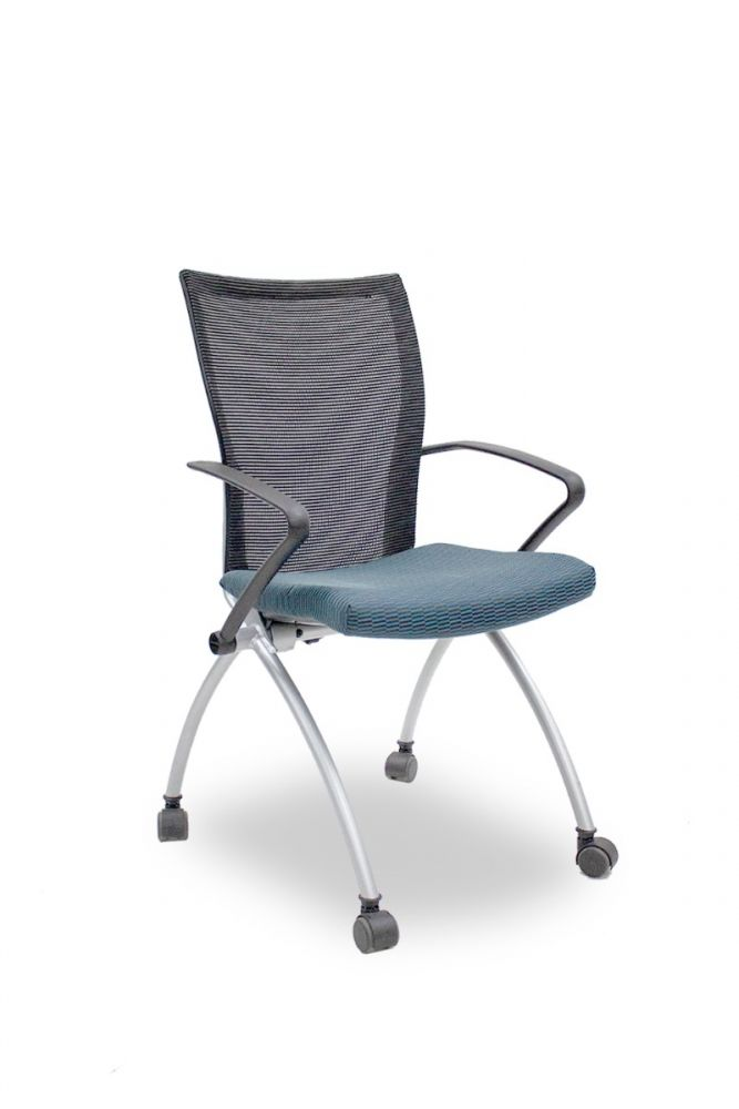 Pre-owned Haworth X99 nesting chair has a folding seat with blue brick patterned upholstery, black mesh back, black fixed avian arms and (4) metallic silver post legs.