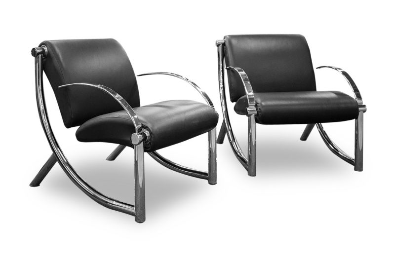Modern Lounge Chair Pair (Black Leather)
