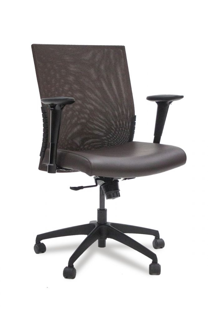 Pre-owned Stylex insight mesh back task chair has Dani Costarica Black Bean leather upholstered seat with matching mesh back.