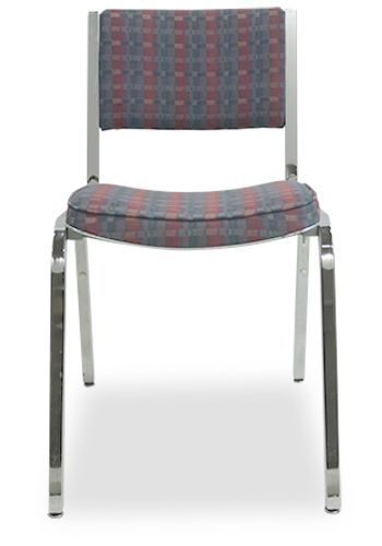Pre-owned Steelcase banquet stack chair has green, blue and purple checker-patterned upholstery and a chrome frame. Armless.