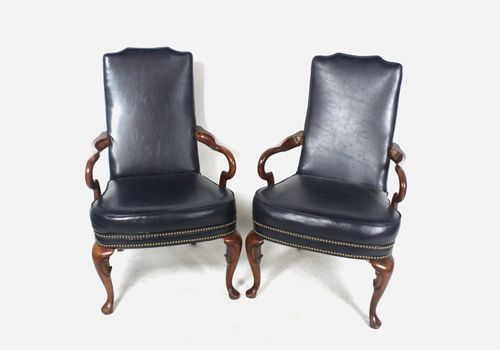 High-Back Armchair Pair (Navy Leather)