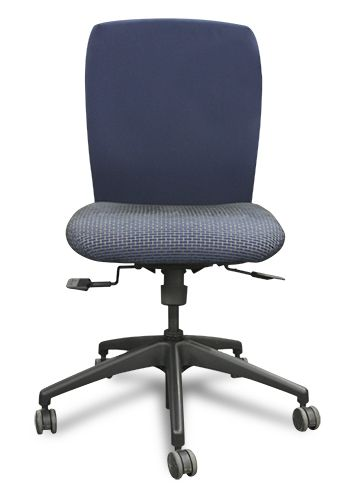 Knoll Armless Task Chair (Dark Blue/Blue Checkered)