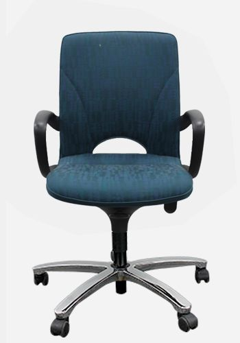 Pre-owned Haworth Conference Chair with Andalusia (3K) Fabric, black loop arms and chrome 5-star base.