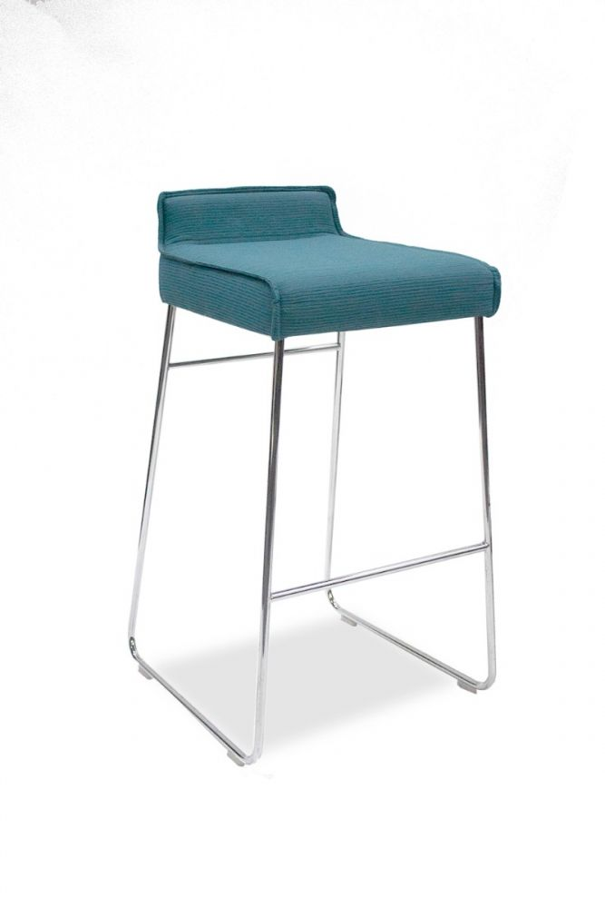 Pre-owned Allermuir Tommo stool has Pleat Lagoon upholstered seat and a chrome sled base.