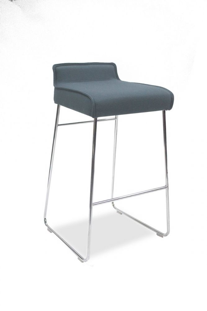 Pre-owned Allermuir Tommo stool has Blazer Hull upholstered seat and a chrome sled base.