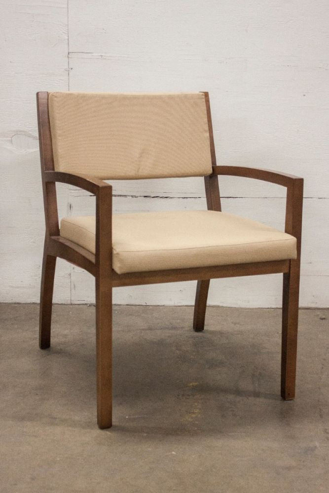 Pre-owned Gunlocke wood side chair has a tan upholstered seat and back, and a walnut frame with (4) post legs.