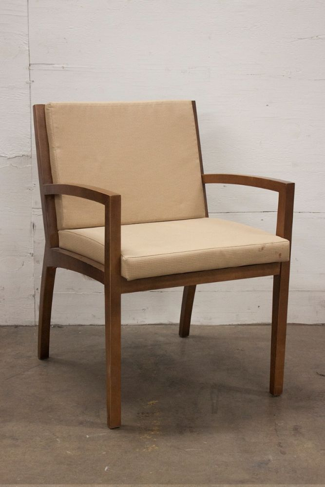 Pre-owned Gunlocke wood side chair has a tan upholstered seat, walnut seat  back, and a frame with (4) post legs.