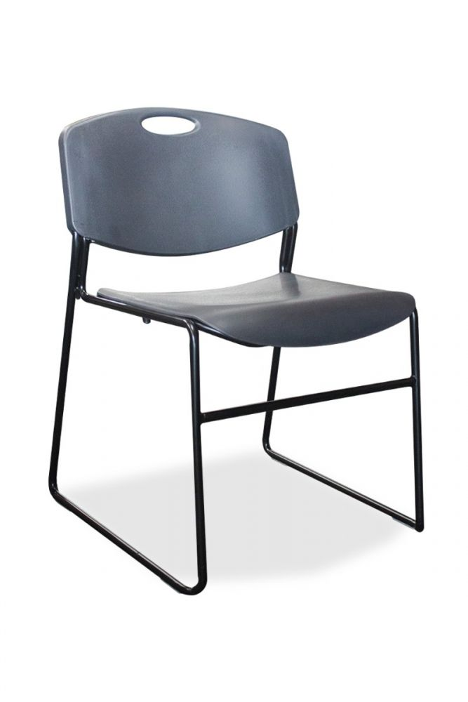 New Spot 4400 café-height stool has black seat and back, with a black sled base.