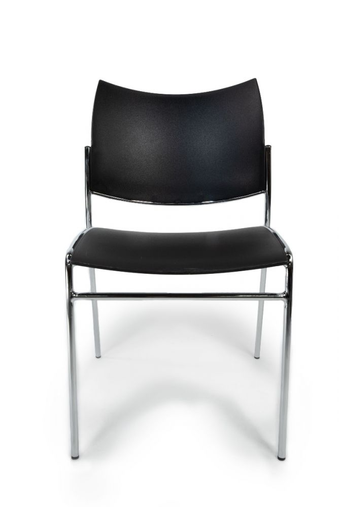Mayline Escalate stack chair has black plastic seat and back.