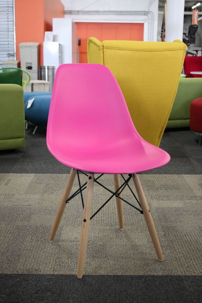 New Quintus Dining Chair by Langley Street. Poly seat, wood legs. Finish: Fuchsia/Natural wood legs