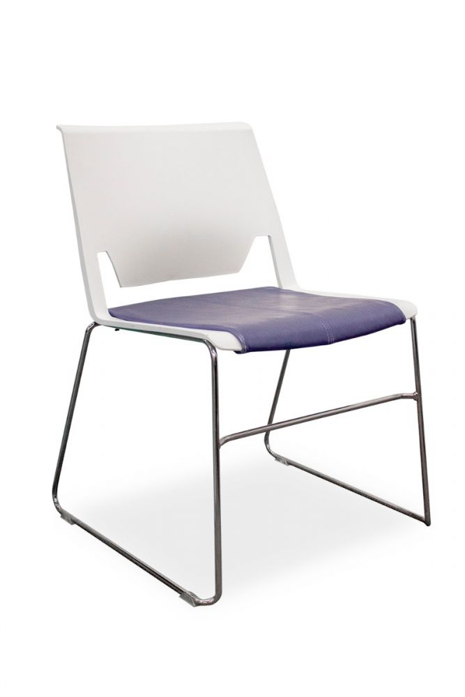 Haworth Very Stack Chair (Blue Leather/White)