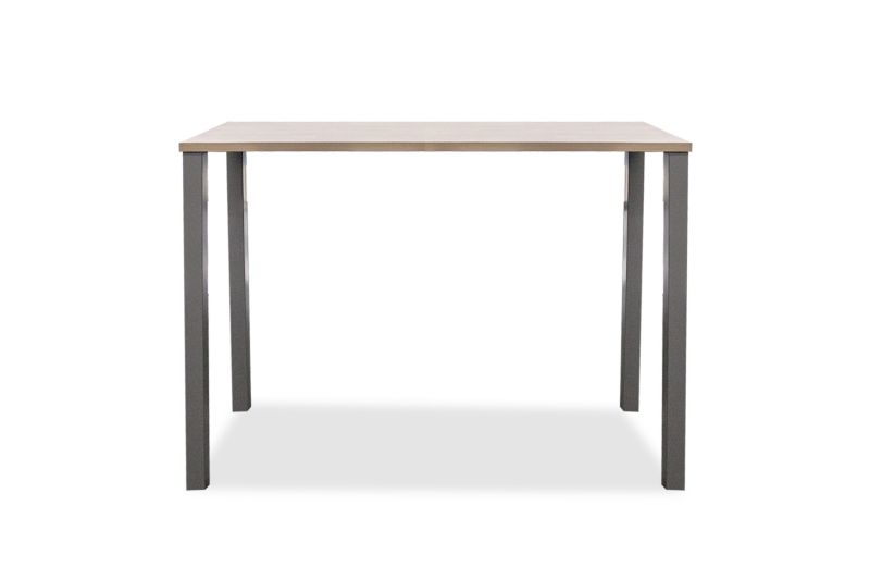 "24""D x 60""W x 42""H rectangular collaboration table with laminate top and (4) metal post legs."