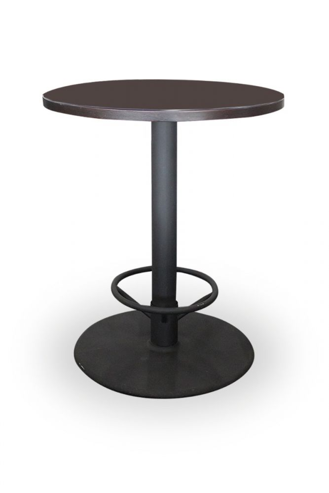 Pre-owned Walter E. Smithe round bar-height care table has mahogany veneer surface and a black metal disc base with footrest.
