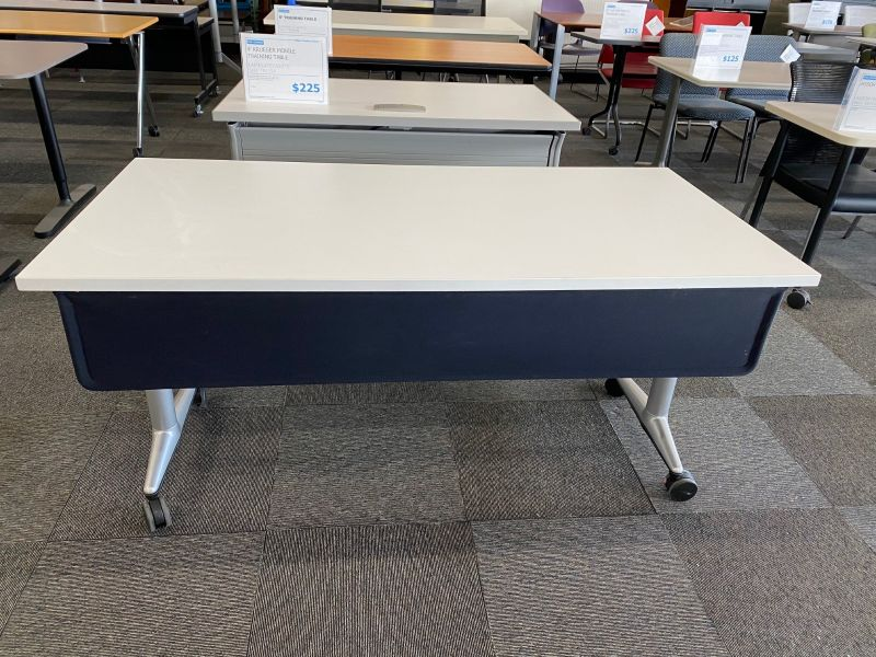 5.5' Steelcase Coalesse Flip-Top Mobile Training Table (White)