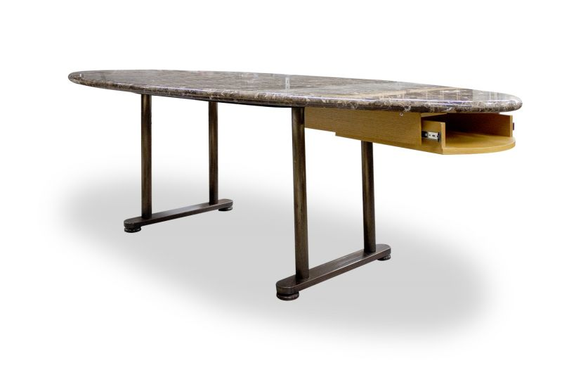 "Pre-owned oval conference table has brown marble surface. With (2) copper dual post T-legs and (1) under surface (19""D x 16""W ). Dimensions: 42""D x 96""W x 29""H."