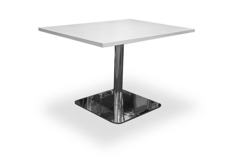Pre-owned rectangular café table has white laminate suface and a chrome square bases.