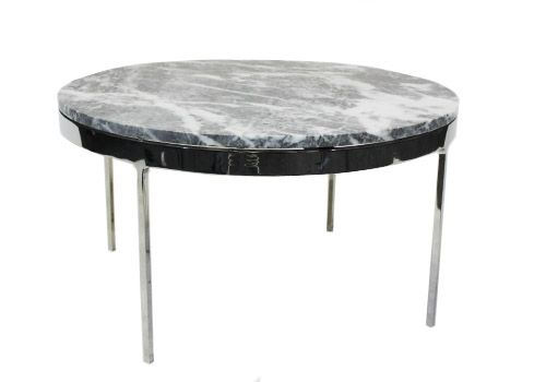 "30"" Zographos Grey Marble Round Side Table"