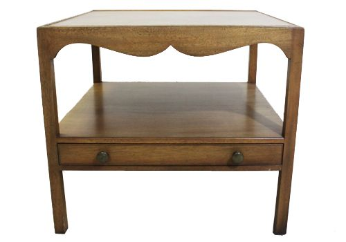 "26"" Kittinger Walnut Veneer Square Side Table"