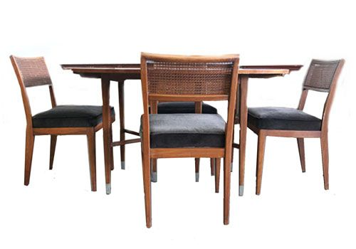(4) Cane Back Dining Chairs + Mid-Century Oval Table