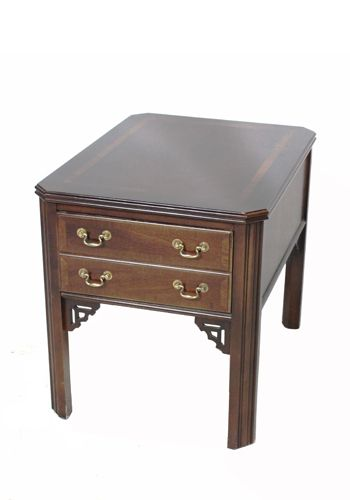 "Lane 27"" Mahogany Veneer Rectangular Side Table"