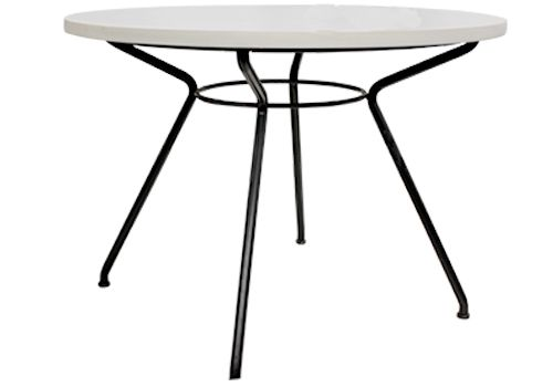 3.5' Round White Laminate Café Table (Grid Patterned)