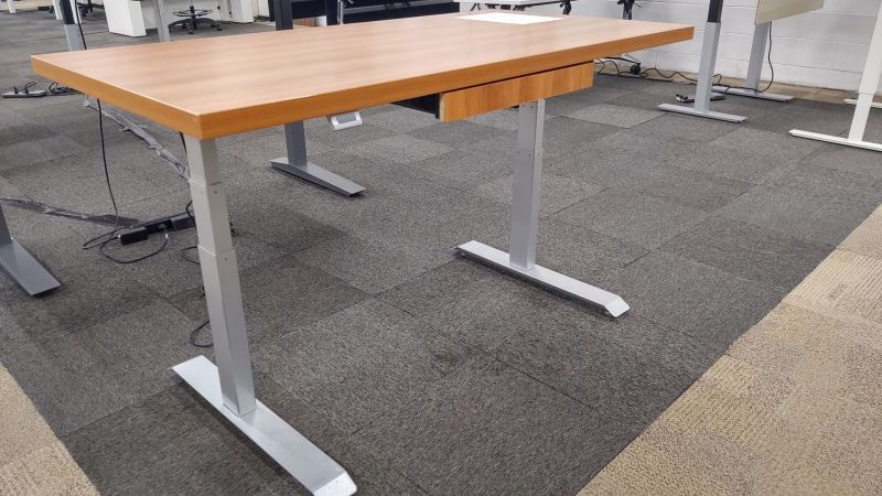 """59"""" Compel Adjustable Height Table Desk (Cherry) w/ Keyboard Tray"""