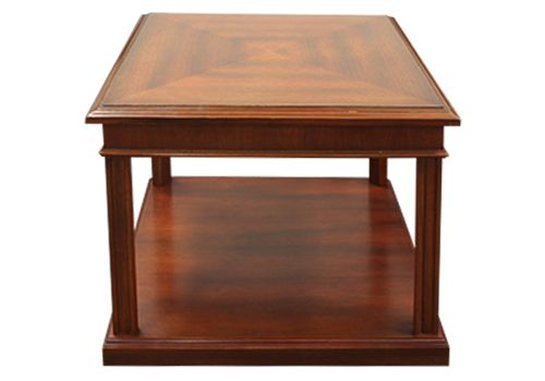 "27"" Mahogany Veneer Two-Tier Square Side Table"