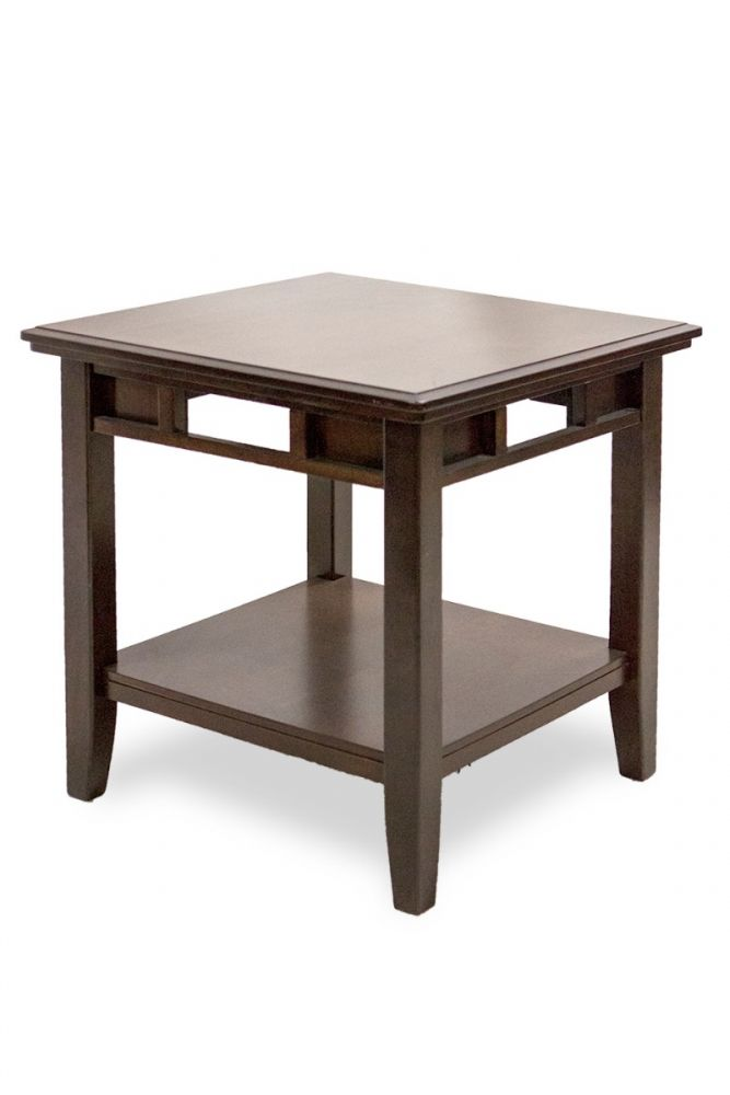 2' Two-Tier Mahogany Veneer Side Table