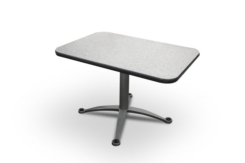 Pre-owned rectangular café table has grey speckled laminate surface with black edge banding and grey X-base.