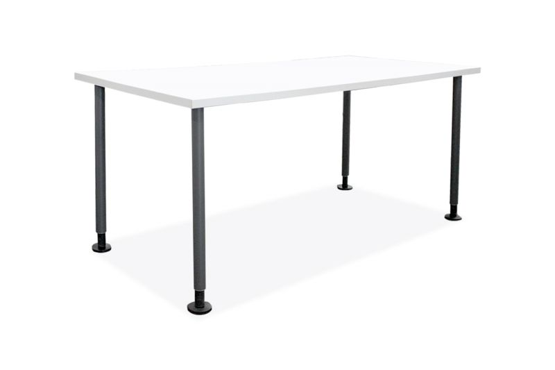 Pre-owned Steelcase rectangular training table has light grey laminate finish and (4) dark grey post legs on glides.