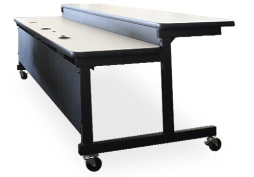 6' Two-Tier Rectangular Training Table (Grey Speckled)