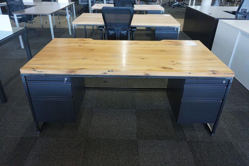 6' Custom Industrial Double Ped Table Desk (Walnut Plank)