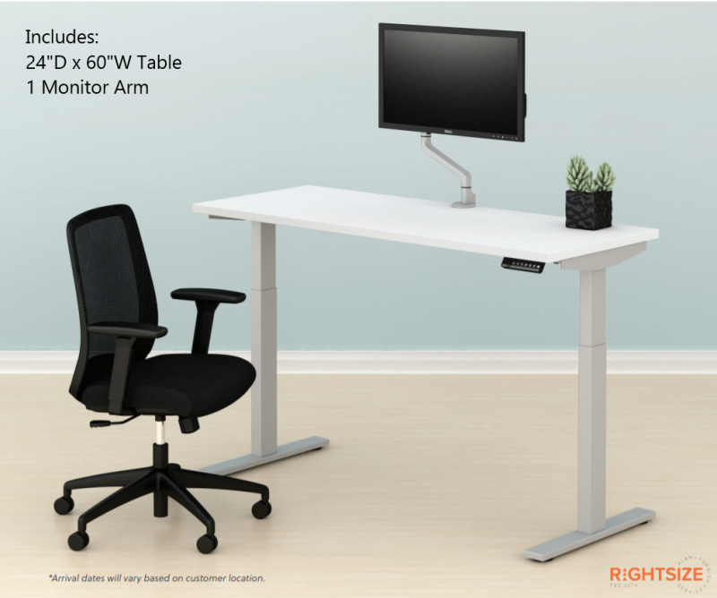"""24""""D x 60""""W Work From Home Bundle with 1 Monitor Arm"""