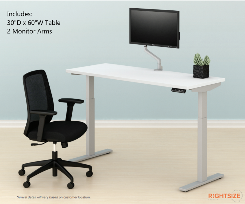 """30""""D x 60""""W Work From Home Bundle with 2 Monitor Arms"""